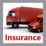 Red lorry and van with Insurance word