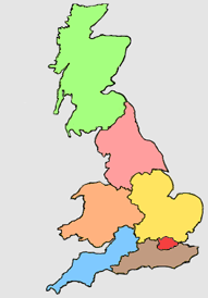 UK map coloured coded for 7 large mainland areas