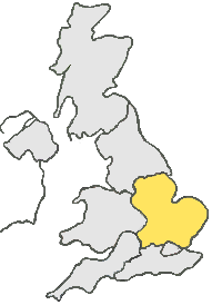 UK Map all grey except, yellow area represents Central and South East