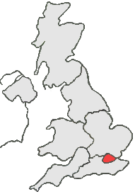 UK Map all grey except, red area represents London