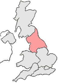 UK Map all grey except, pink area represents Northern England