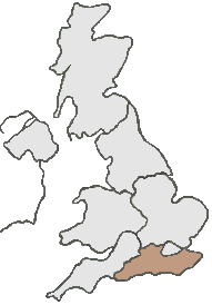 UK Map all grey except, brown area represents South and South East