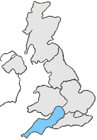 UK Map all grey except, pink area represents South West England