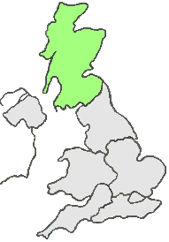 UK Map all grey except, green area represents Scotland