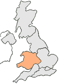 UK Map all grey except, peach area represents Wales and West England